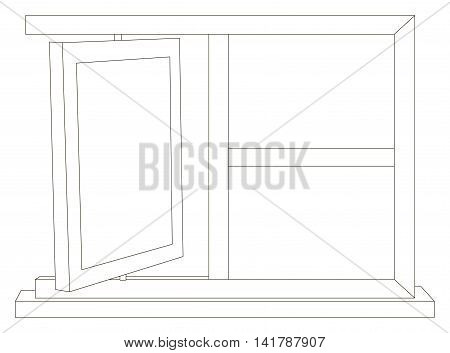 Vector illustration of rotary wooden photo frame
