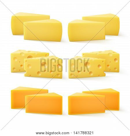 Vector Set of Triangular Pieces of  Cheddar Swiss Cheese Close up Isolated on White Background