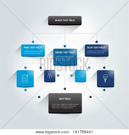 Blue flow chart scheme, diagram, info graphic.