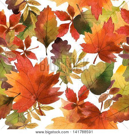 watercolor autumn seamless pattern
