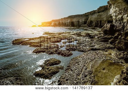 25 may 2016.Cape Greco. Views of the sea caves and cliffs of Cape Greco at sunset. Cyprus.
