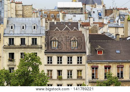 This is typical roof of old Parisian houses with chimneys mansards windows banisters and plant.
