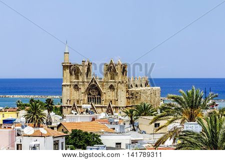 May 24 2016.Famagusta.The roofs of the houses and mosque Lala Mustafa Pasha in the old town of Famagusta .Northern Cyprus.