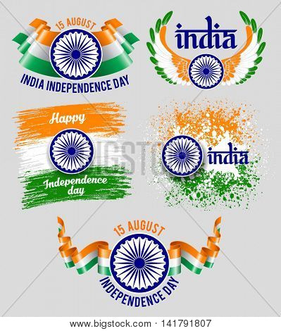 Set of emblems for indian holiday India Independence Day. Best badges for your design. Easy for edit and use. Vector illustration.
