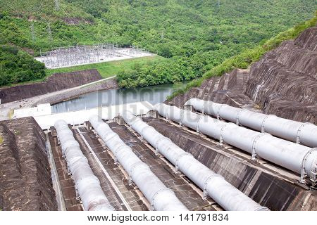 Gigantic water pipes of a Hydro power plant and dam