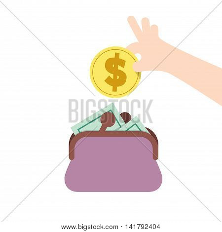 Saving Money And Spending With Purse Illustration Vector. Finance Concept.