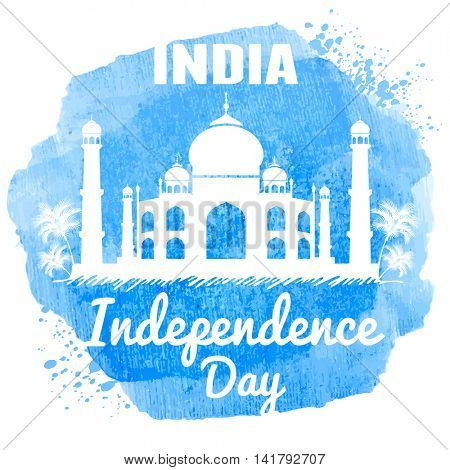 Watercolor design for indian holiday India Independence Day. With Taj Mahal palace, one of symbols of India. Easy for edit and use. Vector illustration.