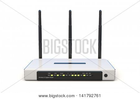 3d wi-fi router on white background