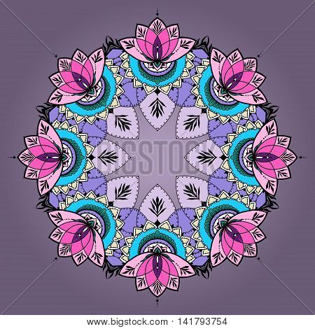 Round pattern mandala with lotuses in east style. Can be used for backgrounds business style tattoo templates cards design or else. Vector illustration.
