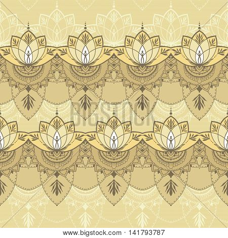 Seamless pattern with lotuses in east style. Can be used for backgrounds business style tattoo templates cards design or else. Vector illustration.