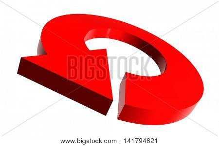 Illustrated round arrow in red color