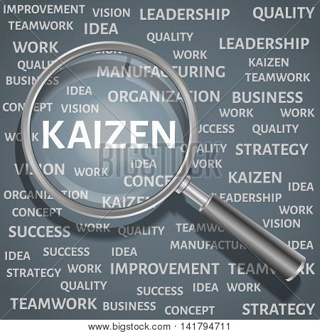 Concept related to Kaizen Japanese method of business. The enlarged magnifying glass word kaizen with other words related business in the background.