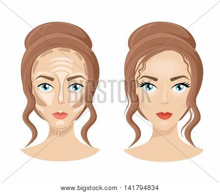 Foundation Concealer Matte Bronzer. Make Up Face How To Contour Face. Three Steps Of Professional Co