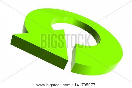 Illustrated round arrow in light green color