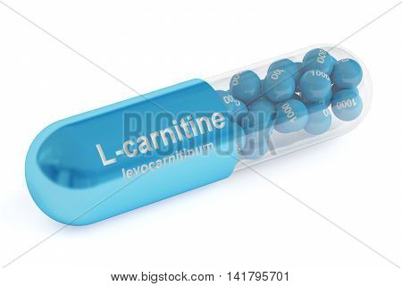 L-carnitine capsule 3D rendering isolated on white background
