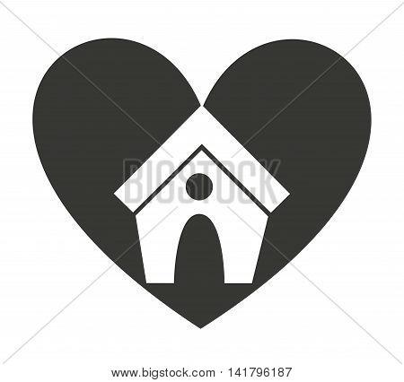 heart love pet mascot isolated icon vector illustration design