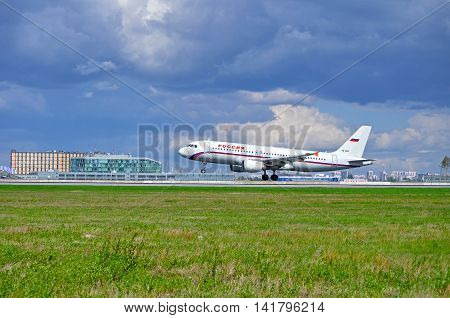 SAINT PETERSBURG RUSSIA - MAY 11 2016. Landing airplane. VQ-BDR Rossiya Airlines Airbus A320 airplane. Airplane is landing at Pulkovo International airport.