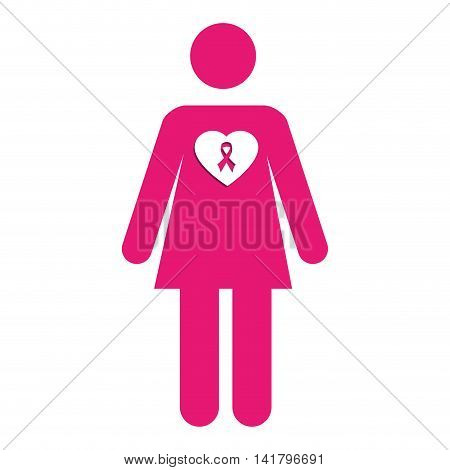 breast cancer campaign, isolated flat icon design