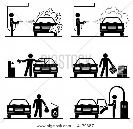 Set of car washing pictograms. Deep cleaning.