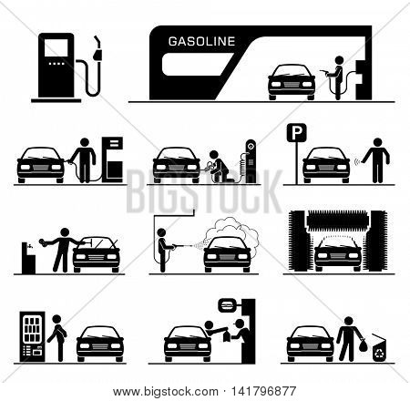 Pictogram set of gas station and car washing facilities.