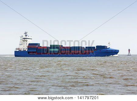 Feeder ship on the North Sea near Bremerhaven