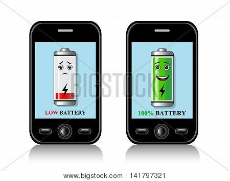 two cell phones with the image of the charged or discharged battery on the screen