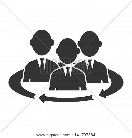 Teamwork meeting pictogram, isolated flat icon design