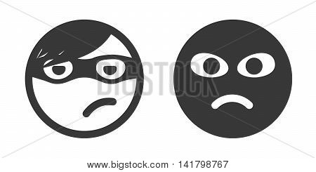 Thief smiley icon set. Theft performer. Robber emoticon. Unknown person with black mask on face. Stealing process participant icon.