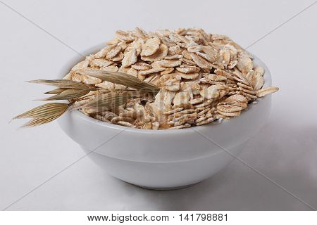 oatmeal bowl ear isolation oats flakes seed