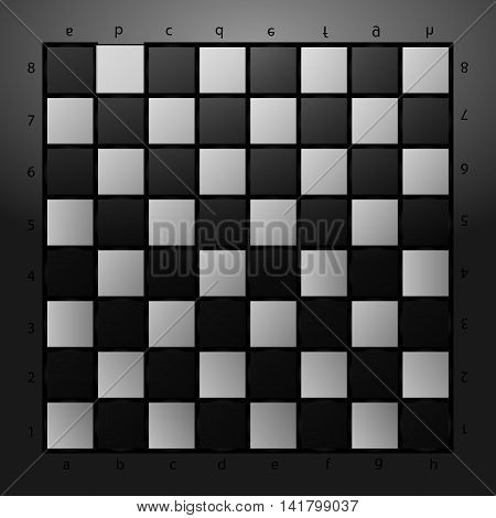 Black and white checkerboard on a gray glass background. Vector illustration
