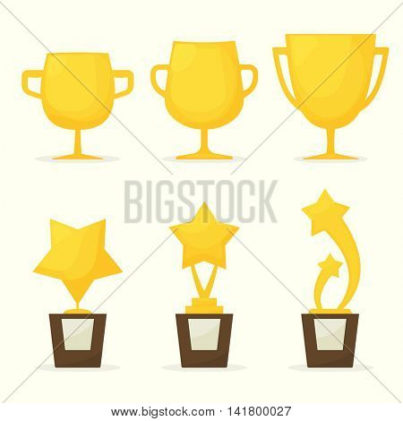 collection of gold cups