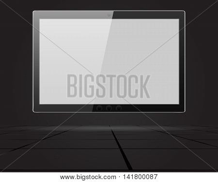 Abstract Tablet computer on the wall in doors. Vector artwork in perspective.