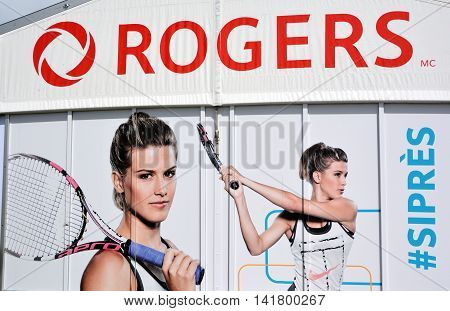 MONTREAL CANADA 07 27 2016: Rogers Cup sign of Eugenie Bouchard Rogers Cup presented by National Bank is a tennis tournament played on outdoor hard courts