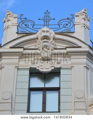 RIGA LAVTIA SEPTEMBER 14 2015: Details of Art Nouveau buildings Over one third of all buildings in Riga are examples of this school of this unique architecture design style.