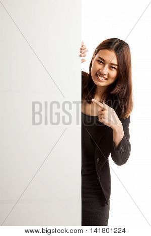 Young Asian Woman Point To A  Blank Sign.