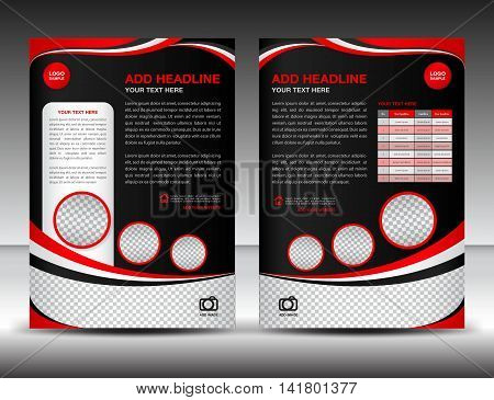 Red and black business brochure flyer design layout template in A4 size, poster, leaflet, ads, newsletter, cover ,annual report, magazine ads, catalog, book