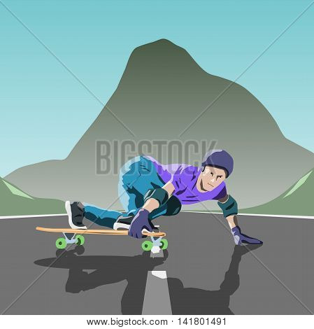 longboard theme illustration. longboarder makes slide. Vector illustration. flat design. longboarder with longboard.