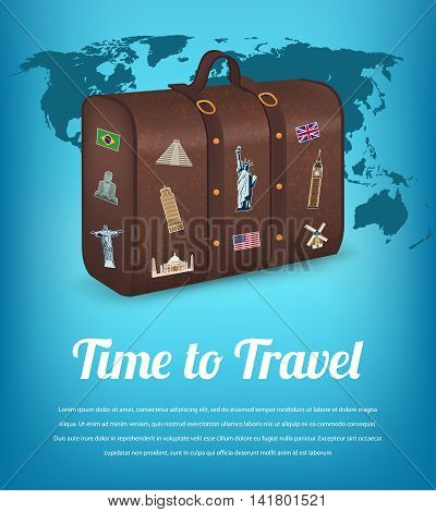 Vintage suitcase with collection of travel labels. Travel and Tourism. Travel background. Vector illustration