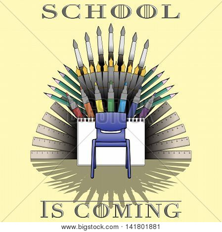 Back to school theme illustration with supplies set and text: School is coming. vector illustration. Concept print design for first september. 1 september theme.