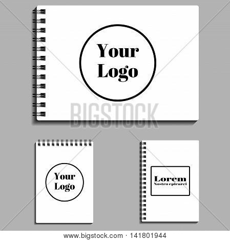 set of empty blank spiral notebooks. Vector illustration. EPS 10.