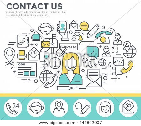 Contact us concept illustration, thin line, flat design