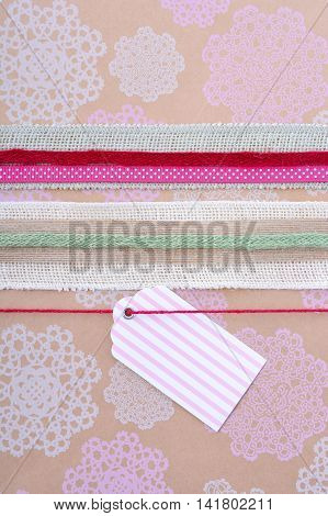 Vintage Style Gift Wrapping Holiday Background.