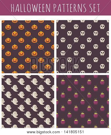Set of halloween seamless patterns with pumpkins skulls and ghosts.