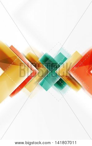 web brochure, internet flyer, wallpaper or cover poster design. Geometric style, colorful realistic glossy arrow shapes with copyspace. Directional idea banner