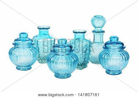 Blue glassware set with pattern isolated on white