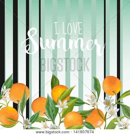 Orange Floral Background. Vintage Pattern. Vector Background. Summer Background. Fruits, Flowers and Leaves.