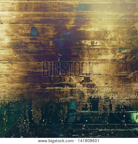 Vintage elegant background, creased grunge backdrop with aged texture and different color patterns: yellow (beige); brown; green; blue; purple (violet); black