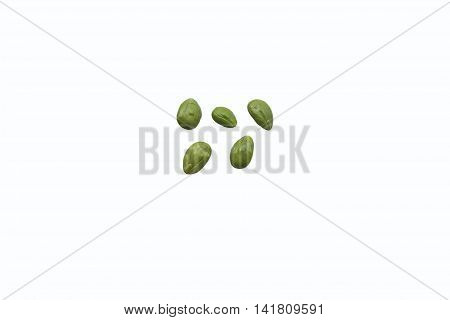 Stink bean (Parkia speciosa Hassk.) or sa-tor Native vegetation in the south of Thailand on white background isolated