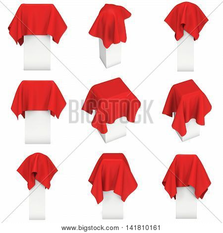 Presentation pedestal covered with a red cloth set. Place for award or prize cover by cloth collection. 3d render isolated on white.