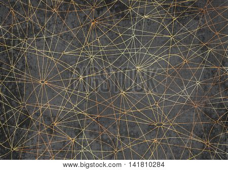Abstract background with golden lines on gray texture for  cards, textile, arts. Mystic and occult linear pattern with hand drawn elements